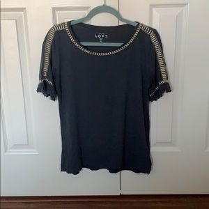 Navy fringe sleeve blouse